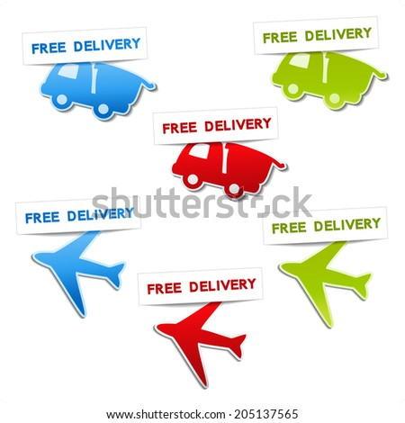 symbols for delivery - car, airplane