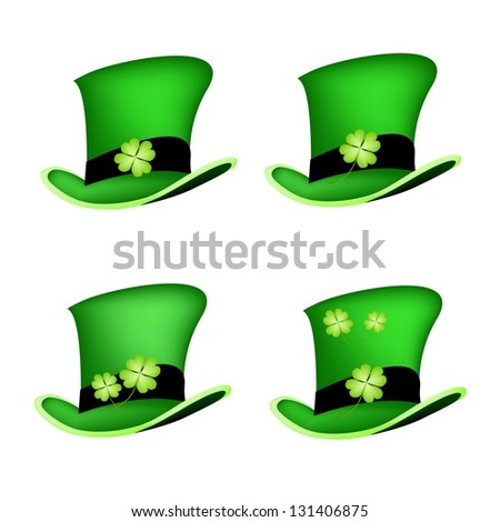 Symbols for Fortune and Luck, An Illustration Collections of Fresh Four Leaf Clover Plants or Shamrock on Saint Patrick's Hat - stock photo