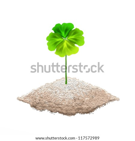 Symbols for Fortune and Luck, Hand Drawing of A Fresh Four Leaf Clover Plant or Shamrock on The ground - stock photo