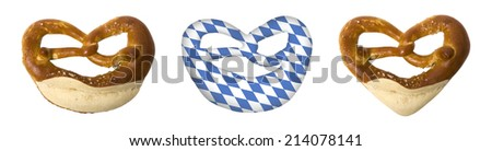 Symbols for the Bavarian Oktoberfest isolated on white background - stock photo