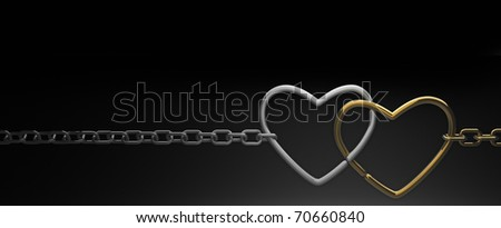 symbols hearts on a chain. on black background . 3d render - stock photo