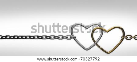 symbols hearts on a chain. on white background . 3d render - stock photo