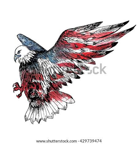 Symbols American Government Watercolor American Flag Stock