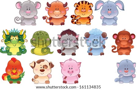 Symbols of Chinese horoscope as cute baby animals. - stock photo