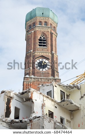 Symbols of Destruction and Hope with Church - stock photo