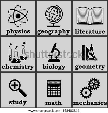 symbols of education.  icons set.(vector version also available in my gallery) - stock photo