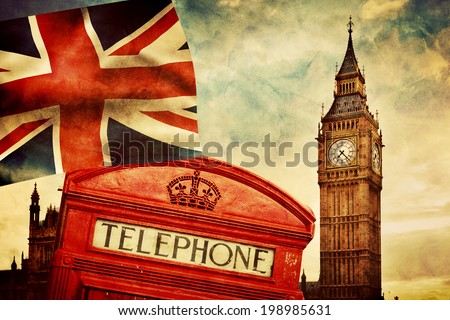 Symbols of London, England, the UK. Red telephone booth, Big Ben and the national flag Union Jack. Vintage retro style - stock photo