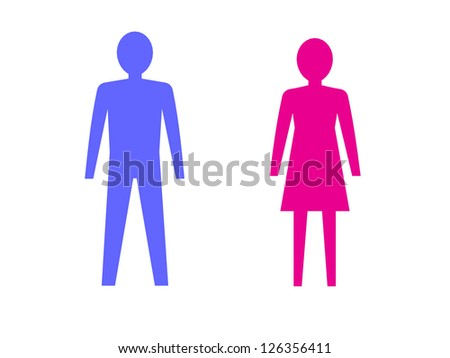 Symbols of male and female pink and blue. 3D illustration - stock photo