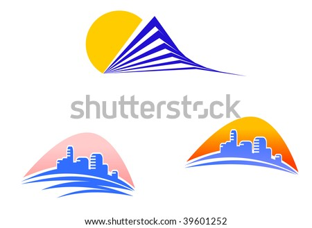 Symbols of modern buildings - abstract emblem or logo template. Vector version also available in gallery