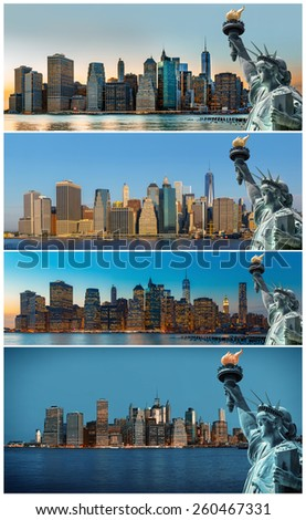Symbols of New York. Manhattan Skyline and The Statue of Liberty, New York City. Set of 4 images - stock photo