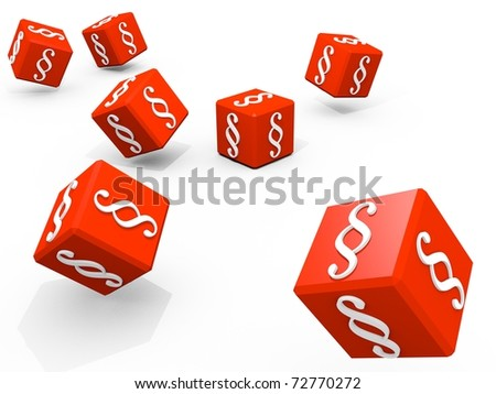 Symbols of paragraph on falling red cubes