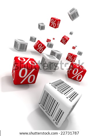 Symbols of percent and bar-codes on cubes - stock photo