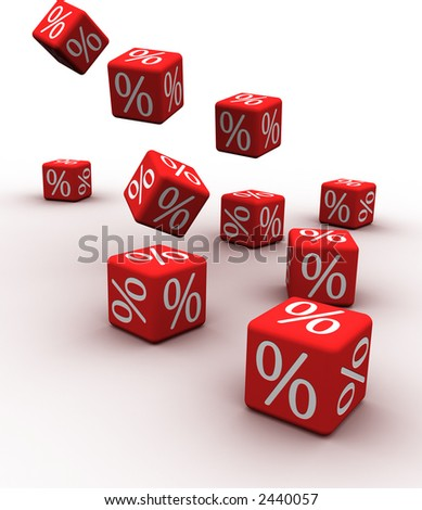 Symbols of percent on falling red cubes. - stock photo