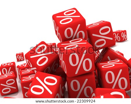 Symbols of percent on red cubes. - stock photo