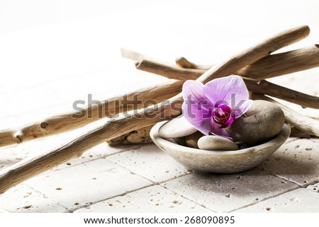 symbols of purity with mineral elements for spa background - stock photo