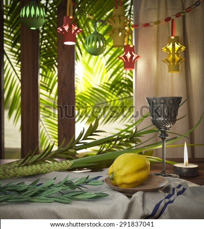 Symbols of the Jewish holiday Sukkot with palm leaves and candle - stock photo