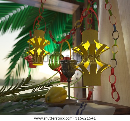 Symbols of the Jewish holiday Sukkot with palm leaves and glass wine 3D illustration