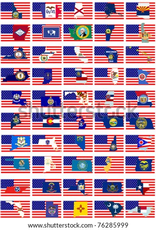 Symbols of U.S. states against the background of the national flag of America.