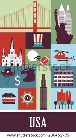 Symbols of USA. - stock photo