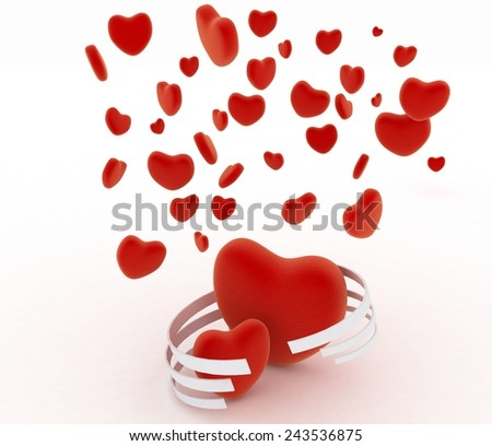 Symbols of valentines day.  Hearts on  white background - stock photo