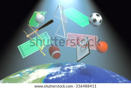 symbols of various sports falling from the sky, concept of satellite worldwide broadcast (3d render)- Elements of this image furnished by NASA - stock photo