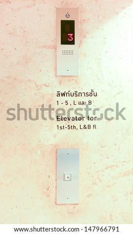 Symbols on equipment when leaving elevator. - stock photo