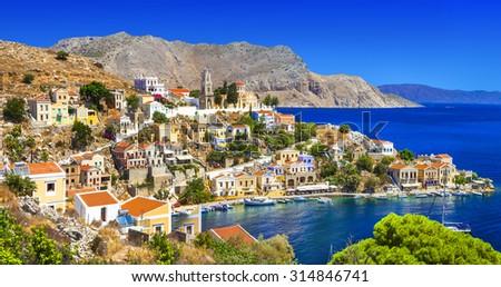 Symi - beautiful Greek island. Dodecanese - stock photo