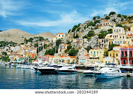 SYMI, GREECE - JUNE 14, 2014: Colorful Houses of Symi Island  on June 14, 2014 on Symi island, Greece.