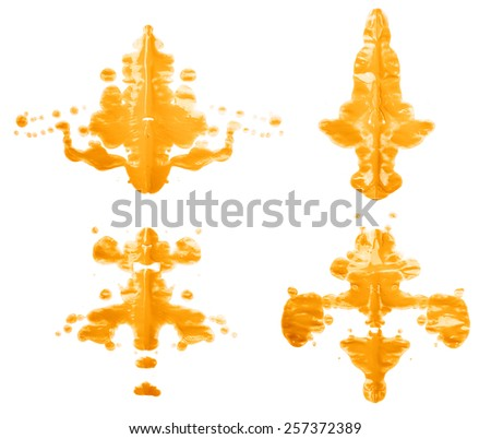 Symmetric abstract paint blot as in a Rorschach test isolated over the white background, set of four different images - stock photo