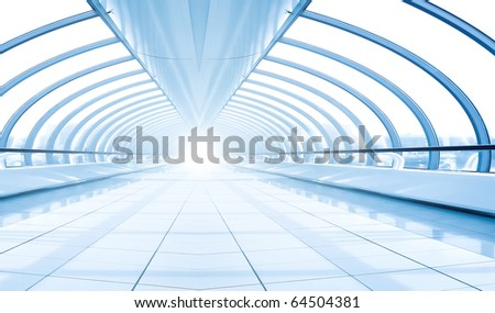 symmetric modern hall inside airport - stock photo