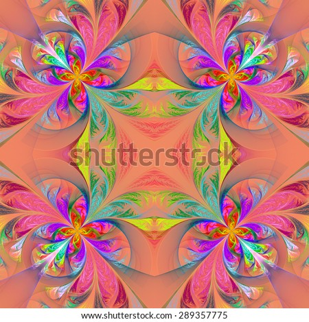 Symmetric multicolored fractal tracery. Collection - frosty pattern. On pink. - stock photo