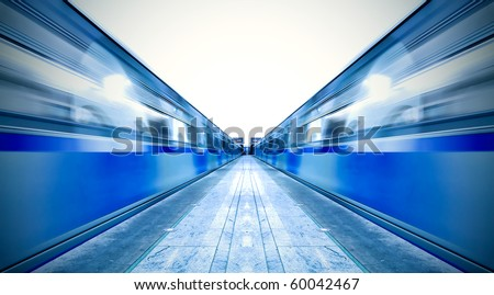 symmetric vanishing platform with leaving trains - stock photo