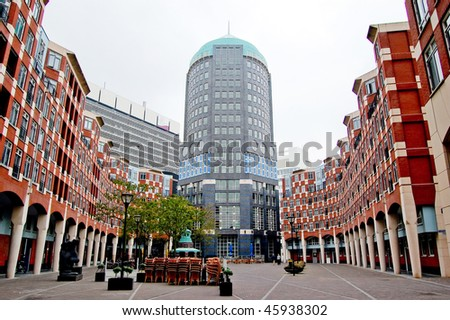 Symmetric view on modern buildings in Den Haag, Netherlands - stock photo