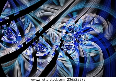 Symmetrical colorful fractal flower spiral, digital abstract
