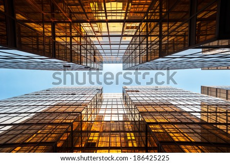 Symmetrical mirrored office buildings, Hong Kong - stock photo