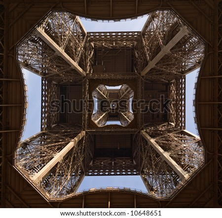 Symmetrical montage from parts of Eiffel Tower