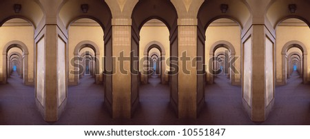 Symmetrical montage from parts of gallery, Florence, Italy - stock photo