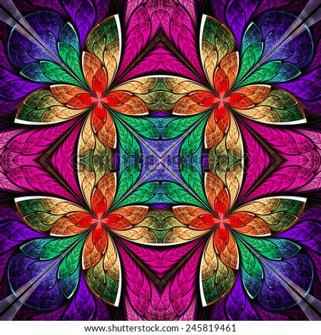Symmetrical multicolored pattern in stained-glass window style. Blue and red palette. Computer generated graphics. - stock photo