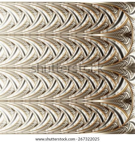 Symmetrical orange fractal flower, digital logarithm for creative graphic - stock photo