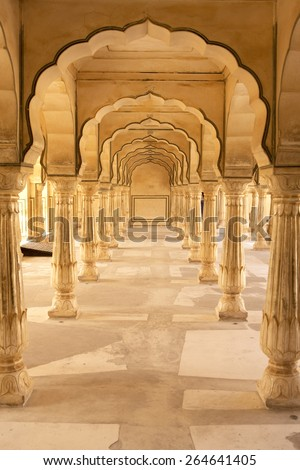 Symmetrical pillars demonstrating typical Mughal archtecture - stock photo