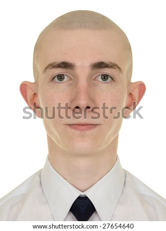 Symmetrical portrait of the young man on a white background - stock photo
