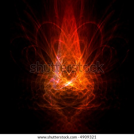 Symmetrical red abstract shape - stock photo