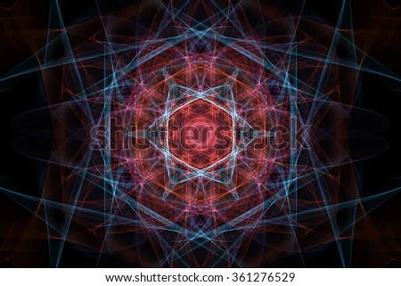 Symmetrical shapes and fractals. Abstract dark background. - stock photo