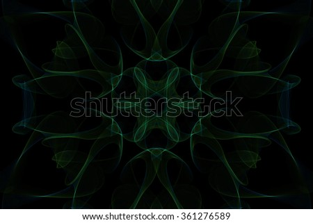 Symmetrical shapes and fractals. Abstract dark green background. - stock photo