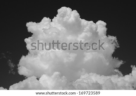 Symmetrical top of the white cumulus against the dark sky, monochrome