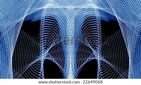 Symmetrical  traces of street illumination. Low speed shutter. - stock photo