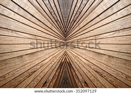Symmetry and perspective  wooden pattern as abstract background.