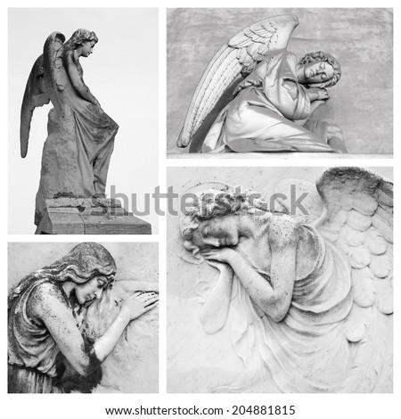 sympathy card with angelic figures - stock photo