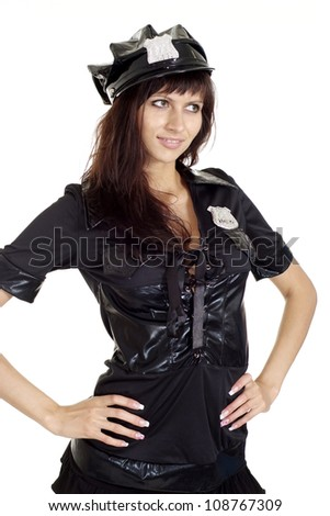 Sympothetic brunette in a suit of police on a white background