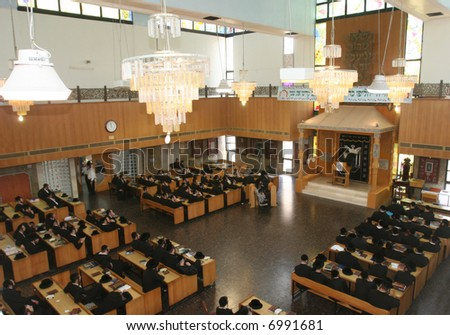 Synagogue and roll torah - stock photo